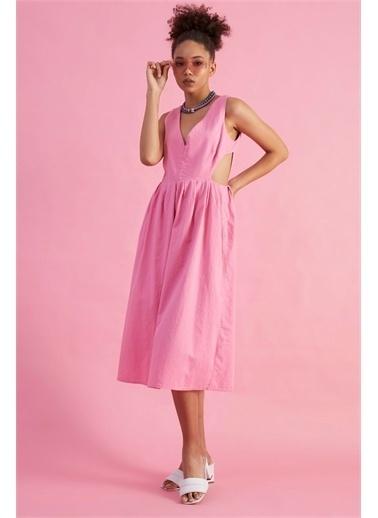 Z Giyim Kadın  İndigo  V Yaka Sırtı Dekolteli Pamuklu Elbise Pembe